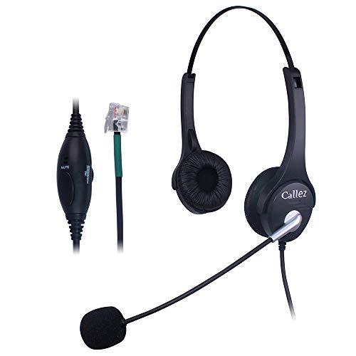 Comdio Callez Mono-Headset mit Rauschunterdrückung, Mikrofon, kompatibel mit Plantronics T10 Avaya 1416 ShoreTel 480 NEC DT300 Mitel Polycom Festnetz-Tischtelefonen 402A3B -