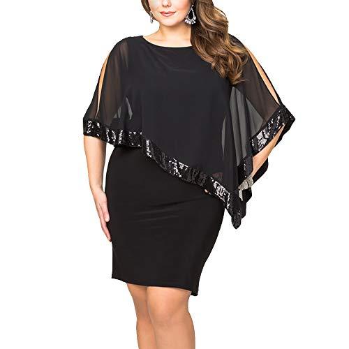 Ancapelion Damen Kleid Ärmellos Minikleid Chiffon Cocktailkleid Pailletten Pencil Partykleid Lässige Kleidung Abendkleid Frauenkleid Kleid für Frauen, Schwarz-Übergröße, XL(EU 46-48) -