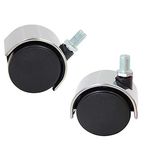 HLILY 2-Zoll-Lenkrollen, BüRostuhl 360 ° -Universalrad, M10, Gewindestange, Bodenschutz-Nylonrolle, MöBelersatzrad (2 StüCk)