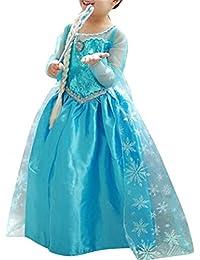 Brinny Fille Costume Deguisement de Princesse Robe Longue avec Cape pour Mariage Soiree Parti Cosplay Carnaval Halloween Noël Cadeau pour Enfant Fille 2-10 ans