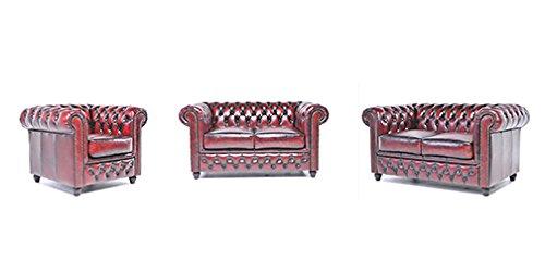 Original Chesterfield Sofas und Sessel – 1 / 2 / 2 Sitzer – Vollständig Handgewaschenes Leder – Antik Rot