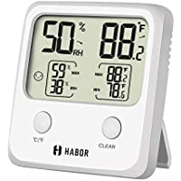 Habor Digital Thermo, [Larger LCD] Accurate Indoor Weather Thermometer Hygrometer Gauge, Monitor Temperature and Humidity Meter for Home Office Comfort, Min/Max Records (White), 2, Large