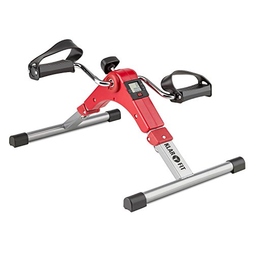 Klarfit Spinmin Pro Mini Bike Pedaltrainer Armtrainer Beintrainer (Display, faltbar, manueller Widerstand, sitzendes und stehendes Training, einfacher Transport, platzsparend) rot