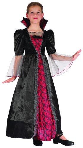 KULTFAKTOR GmbH Barock-Vampirin Halloween-Kinderkostüm rot-schwarz 134/140 (10-12 (Barock Kleid Kostüm)