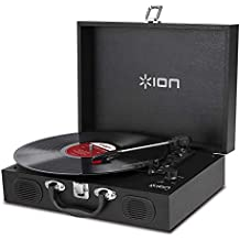 (Renewed) ION Audio Vinyl Portable Briefcase Style Turntable with Built-In Stereo Speakers (Black)