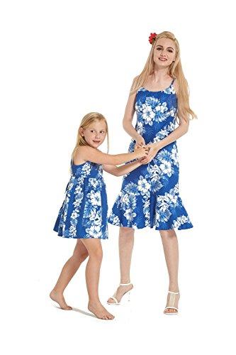 Hecho-en-Hawaii-Hija-de-madre-a-juego-Vestido-luau-en-Lnea-blanca-floral-en-azul-2XL-4