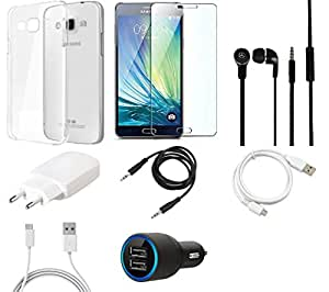 NIROSHA Tempered Glass Screen Guard Cover Case Charger Headphone USB Cable for Samsung Galaxy J2 - Combo