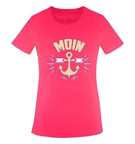 Comedy Shirts - Moin - Anker - Damen T-Shirt - Pink/Beige-Weiss Gr. L