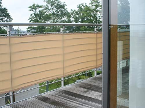 Floracord 12-90-50-01 Hochwertige Balkonumrandung aus Polyesterstoff , Beige, 90 x 500 cm