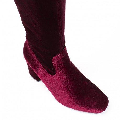 Ideal Shoes - Cuissardes talon épais et effet velours Alexa Bordeaux