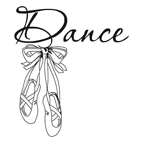 Hwhz 56 X 64 Cm Schöne Ballettschuhe Vinyl Wandtattoo Zitat Tanz Mädchen Zimmer Aufkleber Kunstwand Wandtattoo Für Tänzerraum