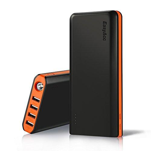 EasyAcc Powerbank 20000mAh Caricabatterie Portatile 4-Port USB Batteria Esterna LED Torcia Elettrica per iPhone iPad Samsung Smartphone Tablets - Nero e Arancio