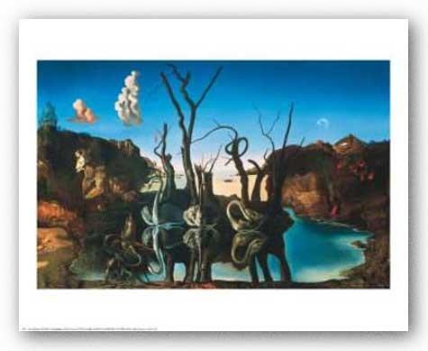 Los cisnes erolite elefantes, c, 1937 por Salvador Dalí Póster