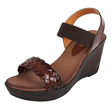 Catwalk Brown Leather Sandals for Women's