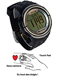Montre Podomètre & Cardio Fréquence - AL5007HR Touch Pad - Manuel en Français - Noir