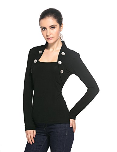 MODETREND Damen Langarmshirt mit Knopfen Quadrat Kragen Langen Ärmeln Bolero Slim Blusen T-Shirt Tuniken Oberteil Tops Schwarz