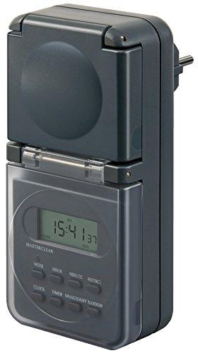 Brennenstuhl Digitale Wochenzeitschaltuhr IP44 digitale Timer-Steckdose (Wochen-Zeitschaltuhr, für Außenbereich und Kindersicherung) anthrazit
