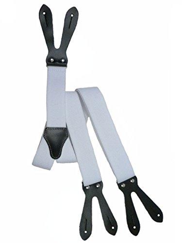 Bretelles pour Boutons avec Cuir Naturel, 3.5cm Blanc (3047)
