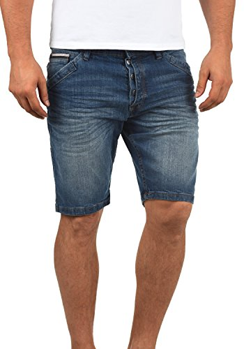 Indicode Alessio Herren Jeans Shorts Kurze Denim Hose Aus Stretch-Material Regular Fit, Größe:M, Farbe:Medium Indigo (869)