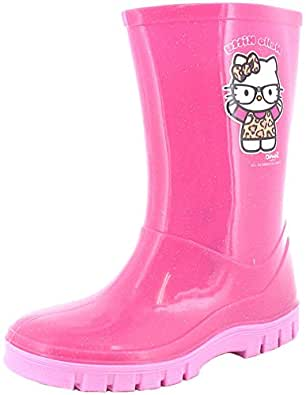 New Girls/Childrens Pink Hello Kitty Wellington Boots With Pink Soles. - Pink - UK SIZE 12