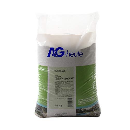 A&G-heute 25kg Filtersand Körnung 0.7-1.2 mm Poolfilter Teichfilter Quarzsand für Sandfilteranlagen Feuergetrocknet