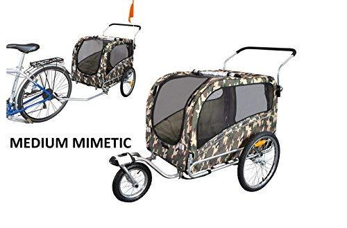 POLIRONESHOP ARGO rimorchio e passeggino per trasporto cani cane animali carrello carrellino trasportino rimorchi da bici bicicletta jogger carrozzina dog portacani portacane porta (MIMETICO, MEDIUM)