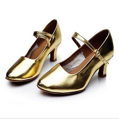 Moda Donna Sandali Sexy donna tacchi Primavera / Autunno punta chiusa in pelle / outdoor casual Stiletto Heel Lace-up nero / argento / Oro Altri golden