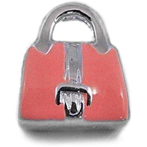 Smalto rosa a forma di cuore, con zirconia cubica, in argento Sterling, con Charm, stile Pandora per braccialetti con perline