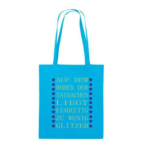 Borse Commedia - Si Trova Sul Pavimento Dei Fatti Chiaramente Insufficiente Glitter - Iuta - Lungo Manico - 38x42cm - Colore: Chiaro Nero / Bianco-rosa Blu / Verde Chiaro Blu Reale