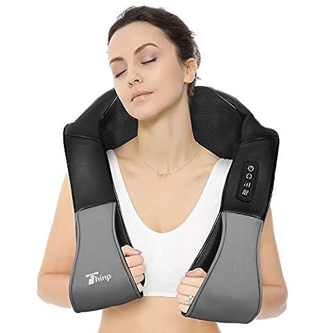 Thinp Appareil de Massage Shiatsu Cervical Masseur Portable du Nuque Dos Cou Épaule Périphérique Chauffant Massage Ceinture de Massage Infrarouge avec Adaptateur pour Domicile Voiture Bureau-Noir