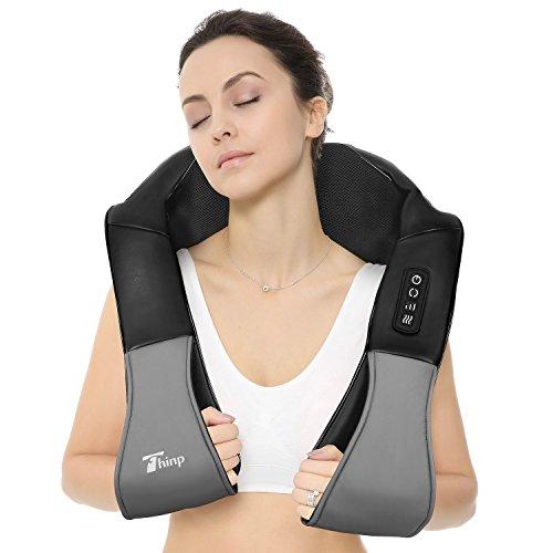 Thinp Appareil de Massage Shiatsu Masseur Cervical Portable du Nuque Dos Cou Épaule Périphérique Ceinture de Massage Chauffant Infrarouge avec Adaptateur pour Domicile Voiture Bureau - Noir