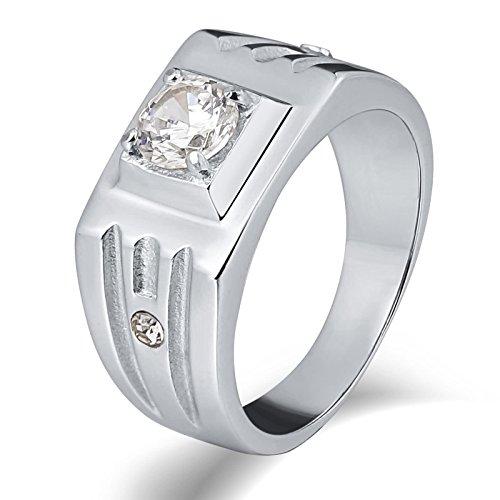 Beydodo Herren-Ring Edelstahl Silber Hochglanzpoliert mit Zirkonia Breite 10 MM Rechteck Freundschaftsringe Partner Ring Größe 62 (19.7) (Region 10 Kostüm)