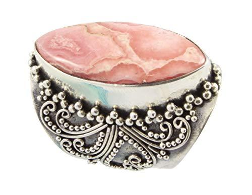 Shadi - Anillo de plata de ley oxidada con rodocrosita étnico (joyería de plata artesanal - regalo - mujer - hombre - Navidad - Reyes - cumpleaños)