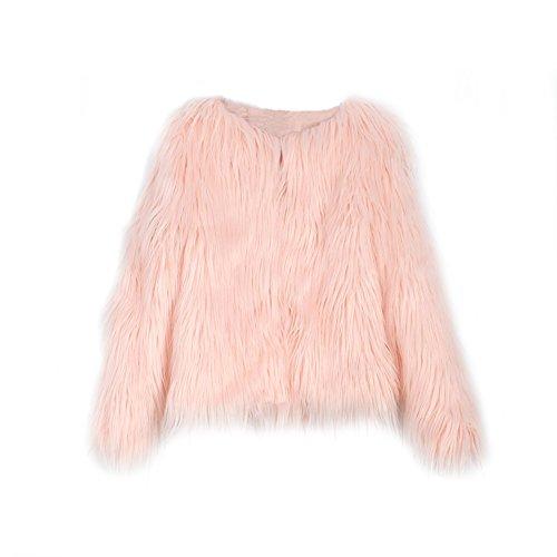 LLQ Mode Manteau Fausse Fourrure Femme, Rétro Chaud Veste Manches Longues Blouson Fourrure Synthétique Vêtements d'automne et d'hiver Rose
