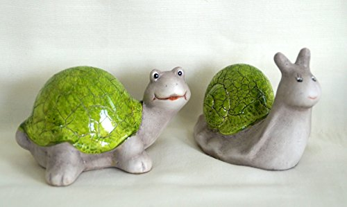 Zauberhafte Dekofiguren Schnecke & Schildkröte aus Keramik in grün und grau, GD161