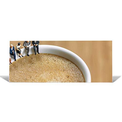 banjado Design Magnettafel 75x30cm groß | Memoboard mit Magneten | Metall Pinnwand magnetisch | Magnetboard mit Motiv Kaffeepause | Magnetwand für Küche, Büro oder Kinderzimmer -