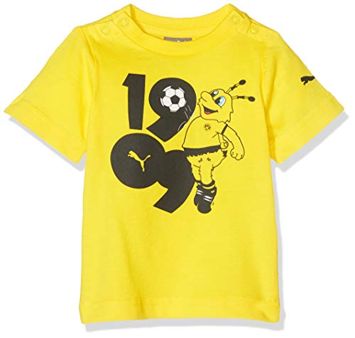 PUMA Kinder BVB Minicats Graphic Tee T-Shirt, Cyber Yellow, 104
