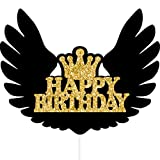 Amosfun Happy Birthday Cake Topper Black Angel Wings Cake Picks Cake Decorations Inserto Torta Card per Compleanno Baby Shower 6PCS