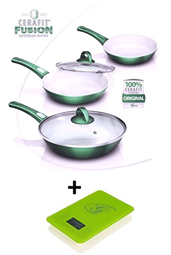 Neu Original Genius Cerafit Fusion Pfannen Set 8 tlg. Smaragdgrün mit Küchenwaage (Grün / Grün)