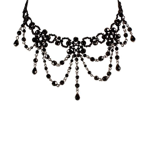 Trachtenschmuck * Trachtenkette Perlen * Damen Dirndlkette * Kropf-Perlenkette nostalgisch * Oktoberfest Dirndl-Schmuck (schwarz)