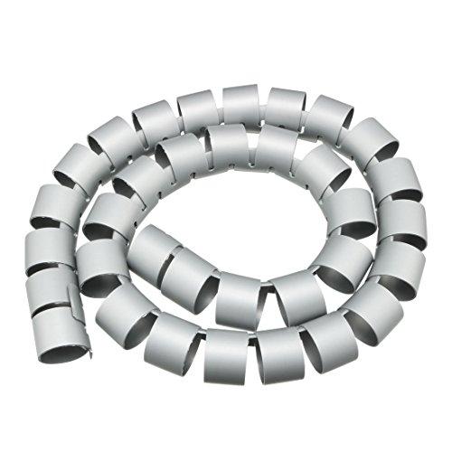 sourcing map 40mm Flexibel Spiral Rohr Kabel Draht Computer Verwalten Schnur Grau 1M de -