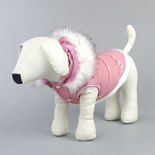La vogue Hundejacke Haustier Wintermantel mit Kapuze Outdoor (Rosa, M-Bust41-43) - 2
