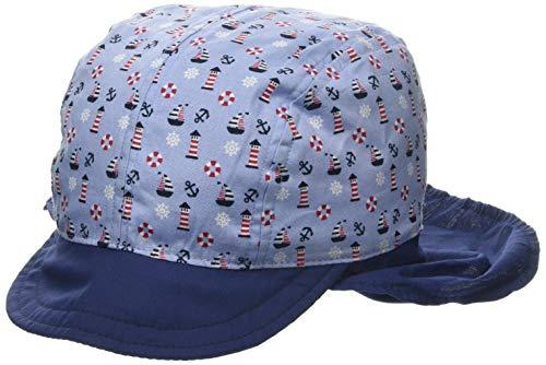 maximo Jungen Schildmütze, Nackenschutz, Bindeband Mütze, Mehrfarbig (Adria-rot-Leuchtturm 70), Herstellergröße: 55 -