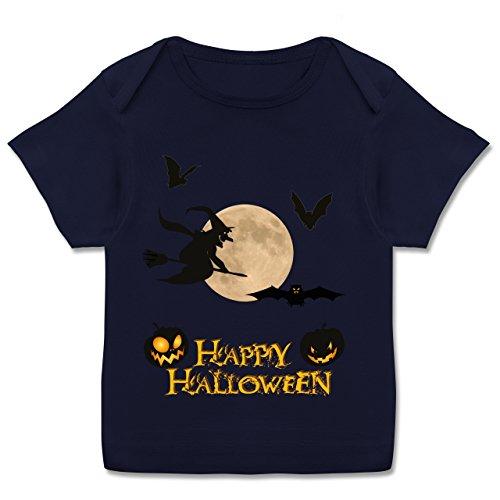 Shirtracer Anlässe Baby - Happy Halloween Mond Hexe - 80-86 (18 Monate) - Navy Blau - E110B - Kurzarm Baby-Shirt für Jungen und Mädchen in Verschiedenen Farben (Besen Flamme Hexe)