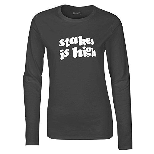 Stakes is High, Damen Langarm-T-Shirt, Holzkohle Grau/Weiß, S = 6-8 (Hip-hop-holzkohle)