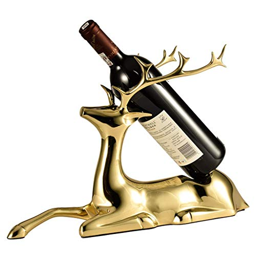 MTX Ltd Weinhalter, Weinglasregal Weinhalter Kupfer Hirsch Home Wein Dekoration Handgeschweißte Anti-Oxidation Weinlager Rack Home Craft Geschenk Rack, Gelb, 41 * 10 * 24CM Stand-alone-rack