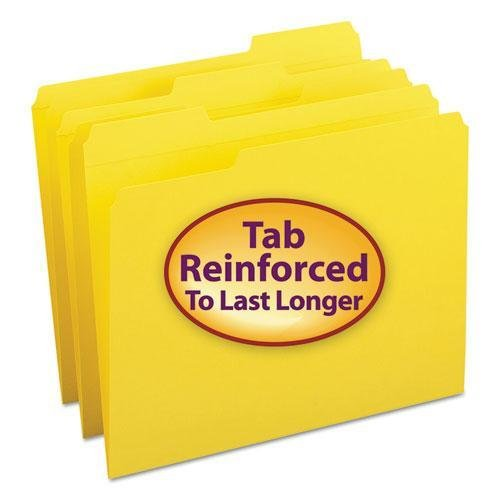 Datei Ordner, 1/3Schnitt, verstärkte Top Tab, Letter, Gelb, 100/Box (Smead Colored Datei-ordner)