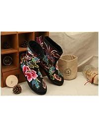 &HZOU Tradicional China nacional viento/viento/bordado/zapatos/la mujer de/confort/ocio/moda/las cuatro estaciones/otoño/invierno , black , 38