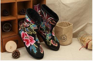 &qq Tradizionale cinese nazionale vento/vento/ricamo/scarpe/donne di/comfort/tempo libero/moda/le quattro stagioni, autunno, inverno Black