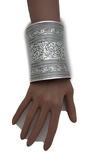 Rodeo-manschette (télévision Française Juive Frauen Fashion Jewelry Silber Metall glänzend Manschette Armband Grecian Manschette breit Blumen Design durch trendige Mode Schmuck)